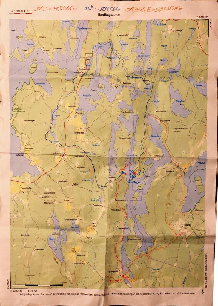Kort over hele ruten